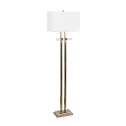 "Metal 64"" Lamp With Crystal Base - Gold"