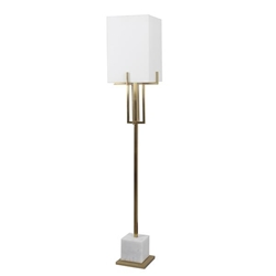 "Metal 65"" Floor Lamp With White Marble Base - Gold"
