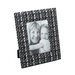 "Metal 6X9"" Boucle Photo Frame - Black"