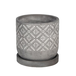 "6"" Diamond Pattern Planter With Saucer - Gray"