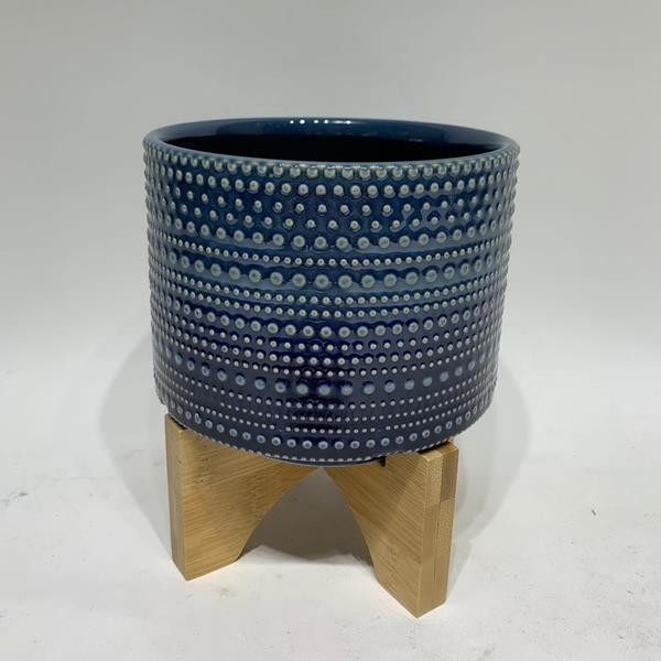 "6""H Dotted Planter With Wood Stand - Blue"