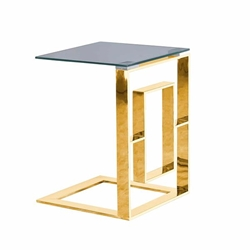 "Metal Box Frame 22"" Side Table -Gold"