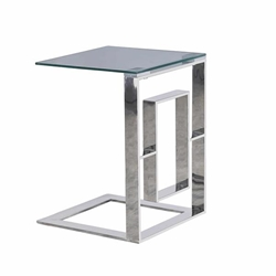 "Metal Box Frame 22"" Side Table -Silver"