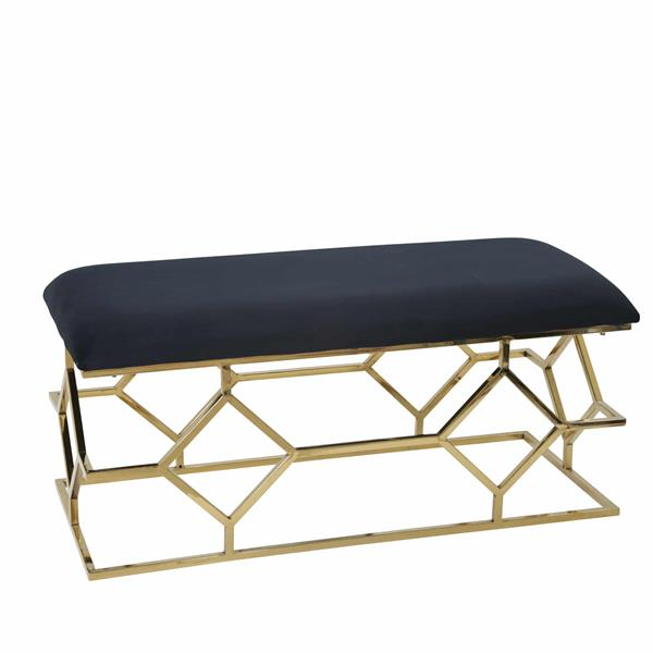 "Metal Frame 40"" Faux Leather Bench - Black"