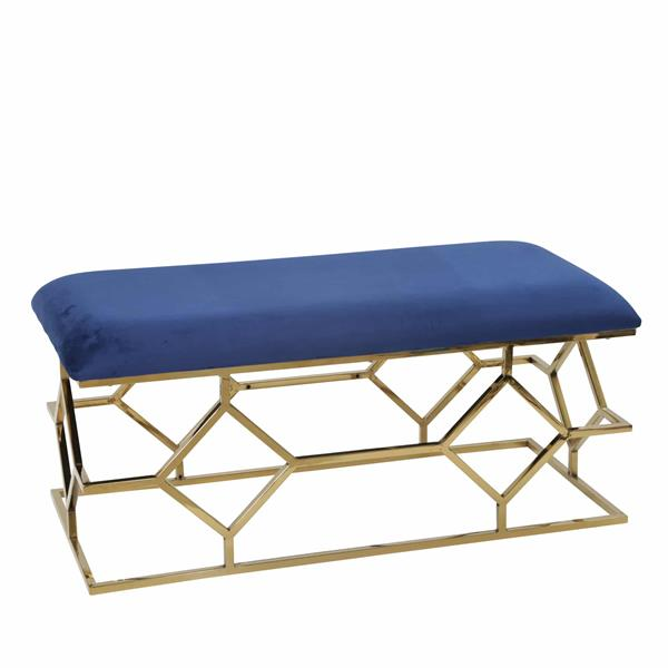 "Metal Frame 40"" Faux Leather Bench - Navy"