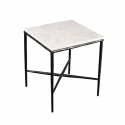 "Metal & Marble 18""H Square Side Table - Black"