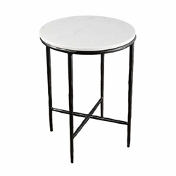 "Metal & Marble 23"" Round Side Table - Black"