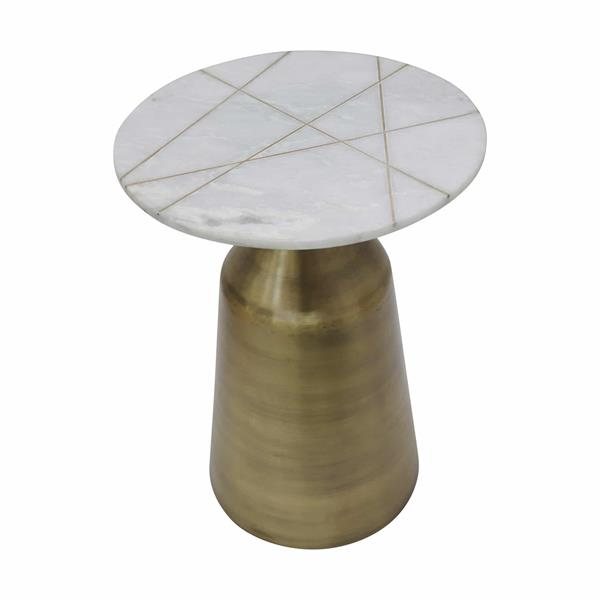 "Metal & Marble 24"" Round Side Table With Inlay- White"
