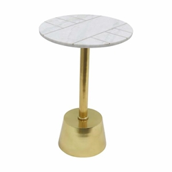 "Metal & Marble 25"" Round Table - Brass"