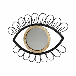 "Metal & Rattan 29"" Eye Wall Accent With Mirror - Black"