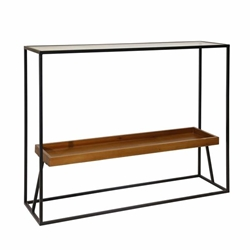 "Metal & Wood 31"" 2-Tier ConsoleTable - Wood Glass Black"