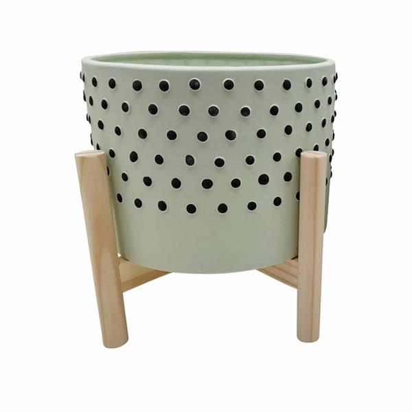 "8"" Ceramic Dotted Planter With Wood Stand - Green"