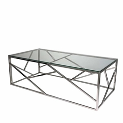 Modern Silver & Glass Cocktail Table