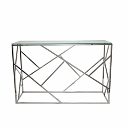 Modern Silver & Glass Console Table