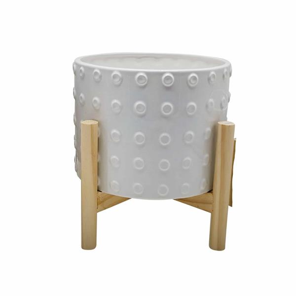 "8"" Ceramic Dotted Planter With Wood Stand - White"