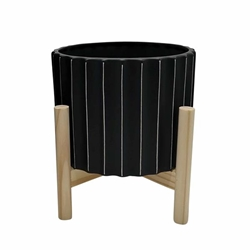"8"" Ceramic Fluted Planter With Wood Stand - Black"