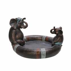 "Polyresin 10"" Dad & Son Elephant Bird Bath- Copper"