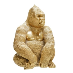 "Polyresin 13"" Sitting Gorilla Figurine - Gold"