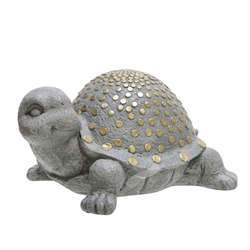 "Polyresin 14"" Turtle With Gold Dots- Gray"