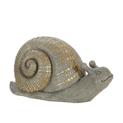 "Polyresin 16"" Snail With Gold Dots- Gray"