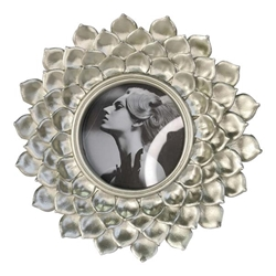 Polyresin 4X4 Daisy Photo Frame - Silver