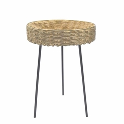"Rattan 21""H Round Coffee Table - Brown"
