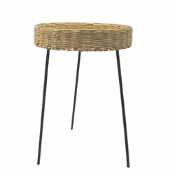 "Rattan 24""H Round Coffee Table - Brown"