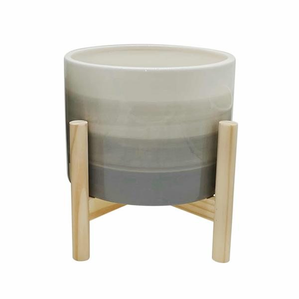 "8"" Ceramic Planter With Wood Stand - Beige Mix"