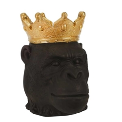 "Resin 12"" Gorilla With Crown- Black"