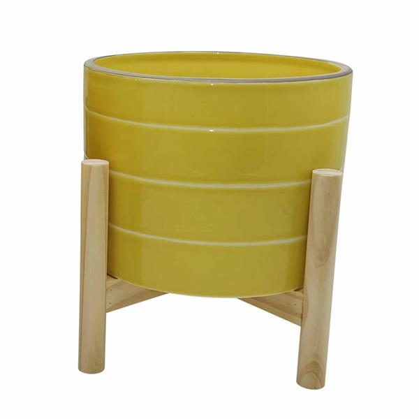 "8"" Ceramic Striped Planter With Wood Stand - Yellow"