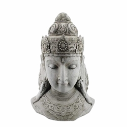 "Resin 33"" Buddha Head - Grey"