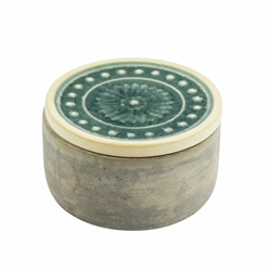 Round Cement Box - Teal Glazed Lid 5""