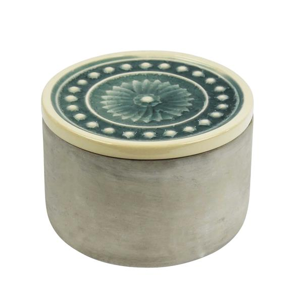 Round Cement Box - Teal Glazed Lid 6""