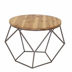 Round Metal Accent Table - Wood Top