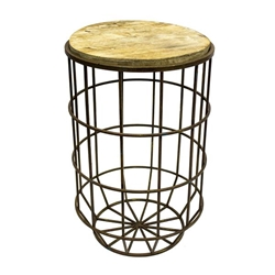 Round Metal & Wood Accent Table