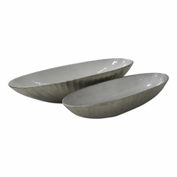 "Set of 2 Aluminum 22 & 24"" Oval Bowl- Champagne Gold"