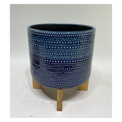 "8""H Dotted Planter With Wood Stand - Blue"