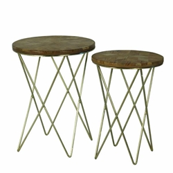 Set of 2 Metal & Wood Accent Tables- Brown