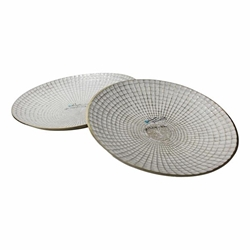 "Set of 2 Metal 10 & 21"" Round Plates- Ivory & Champagne"