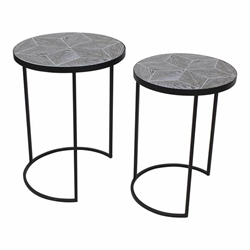 "Set of 2 Metal & Wood 22 & 24"" Round Accent Tables- Black"