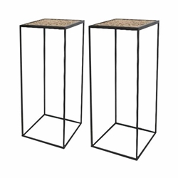 "Set of 2 Metal & Wood Planter Stan 23 & 28""- Black"
