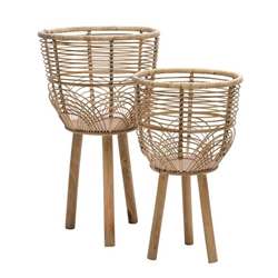 "Set of 2 Wicker Planters 10 & 12""- Natural"