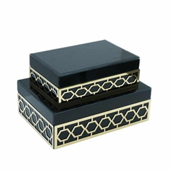 Set of 2 Wood & Glass Jewelry Box -Teal