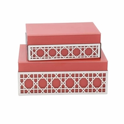 "Set of 2 Wood 8 & 9"" Box With Arch Design- Coral & Gold"