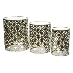 Set of 3 Gold & Mirror Accent Tables