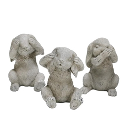 Set of 3 Polyresin No Hear & Speak & See Bunnies- Gray