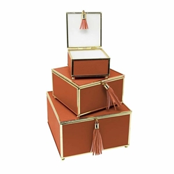 Set of 3 Square Orange Boxes With Tassel