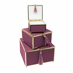 Set of 3 Square Purple Boxes With Tassel