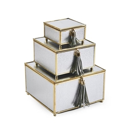 Set of 3 Square Silver Boxes With Tassel