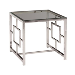 Silver Metal & Glass Accent Table   Style C